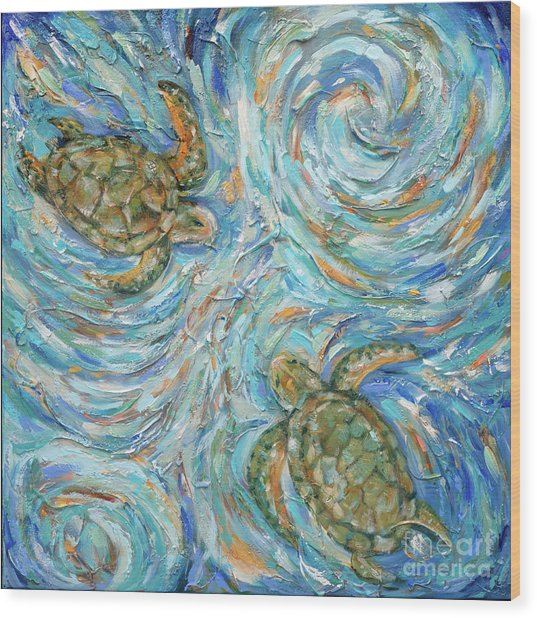 Sea Turtles In The Current Wood Print
