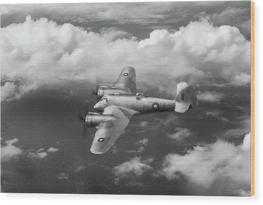 Wood Print featuring the photograph Seac Beaufighter Bw Version by Gary Eason