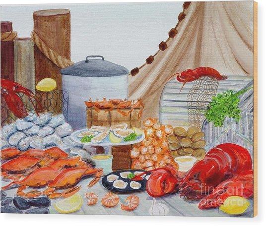 Seafood Feast Wood Print by Pauline Ross