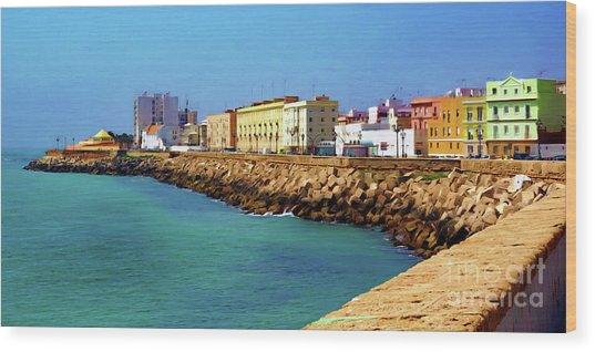 Seafront Promenade In Cadiz Wood Print
