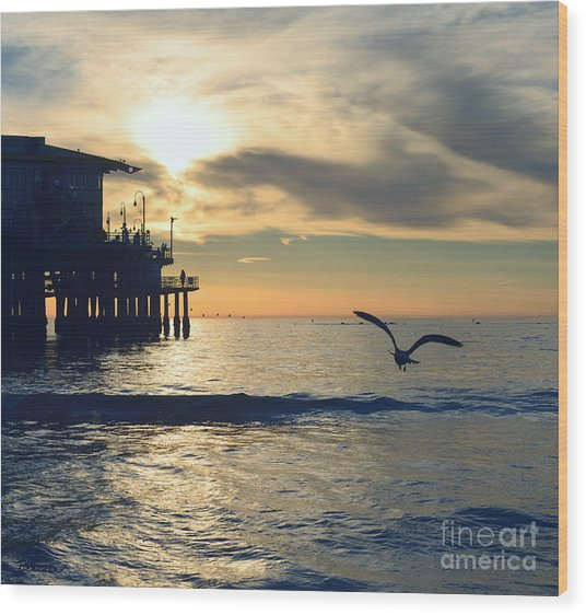 Seagull Pier Sunrise Seascape C2 Wood Print
