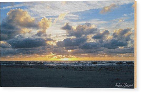 Seagulls On The Beach At Sunrise Wood Print