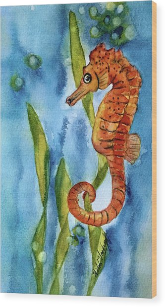 Seahorse With Sea Grass Wood Print