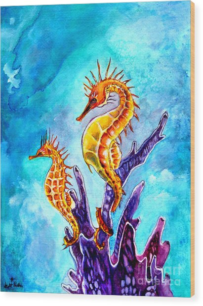 Seahorses Wood Print