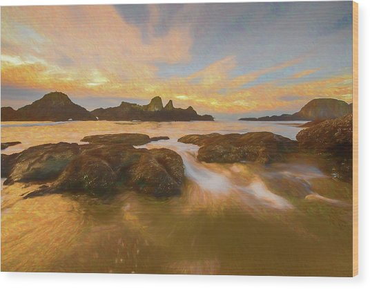 Seal Rock Sunset Wood Print
