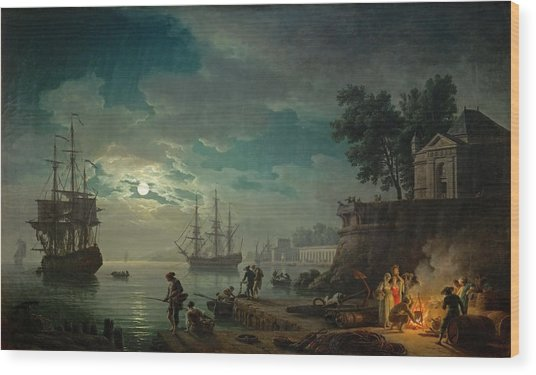 Seaport By Moonlight Wood Print