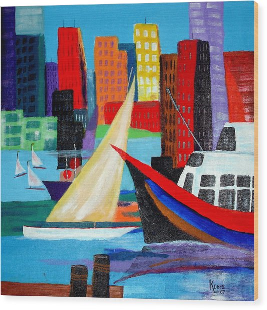 Seaport Wood Print by Susan Kubes