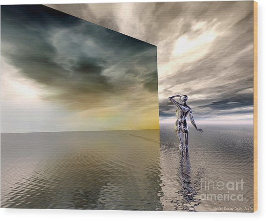 Wood Print featuring the digital art Searching by Sandra Bauser Digital Art