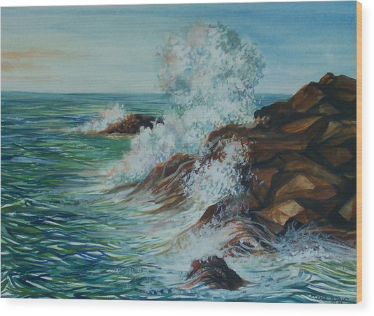 Seascape 1 Wood Print by Arnold Hurley