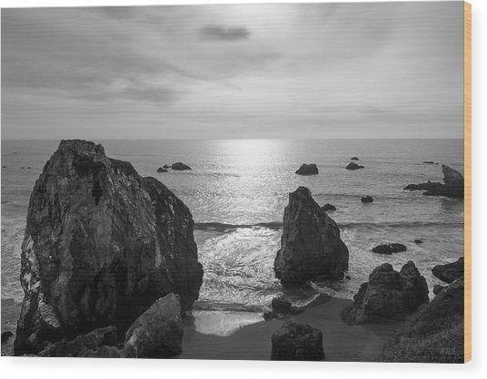 Seascape Jenner California IIi Bw Wood Print
