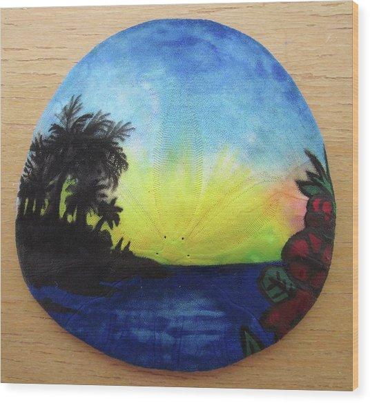 Seascape On A Sand Dollar Wood Print