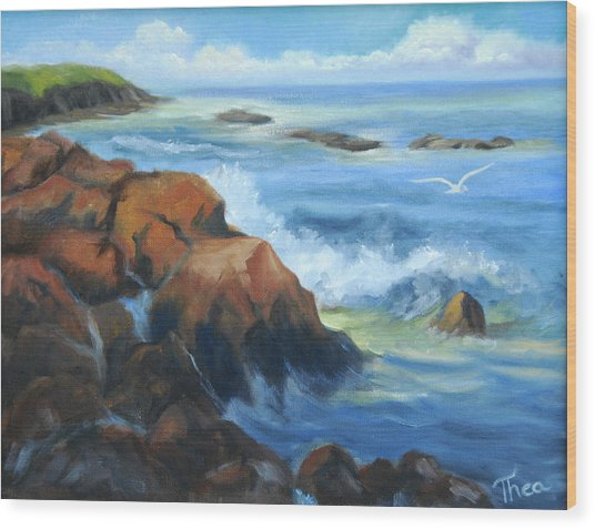 Seascape Wood Print by Thea Wolff