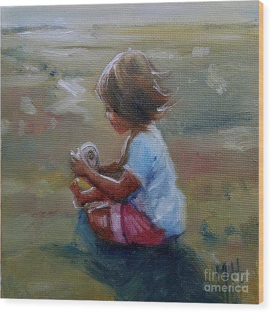 Seashell Contemplation Little Girl Beach Shell Wood Print