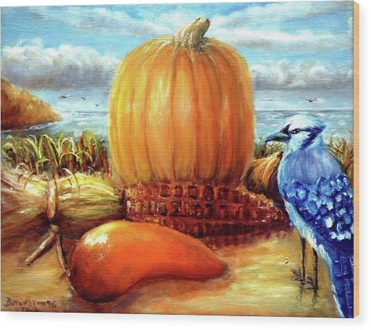 Seashore Pumpkin  Wood Print