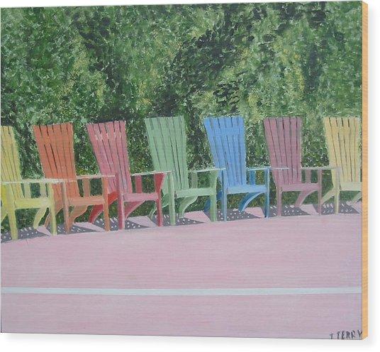 Seaside Chairs Wood Print by John Terry