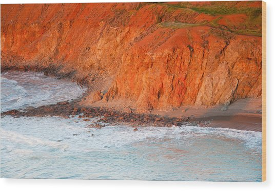 Seaside Cliff Bathed In Afternoon Light Wood Print