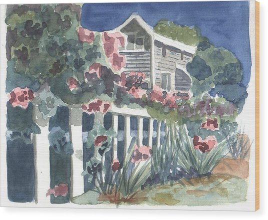 Wood Print featuring the painting Seaside Manor by Jane Croteau