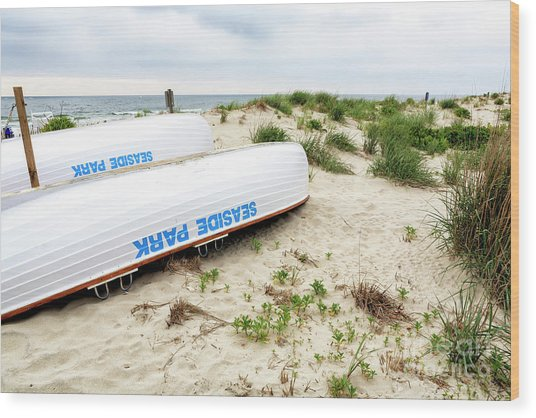 Seaside Park Lifeguard Boats Wood Print
