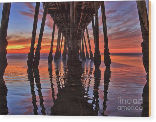 Seaside Reflections Under The Imperial Beach Pier Wood Print