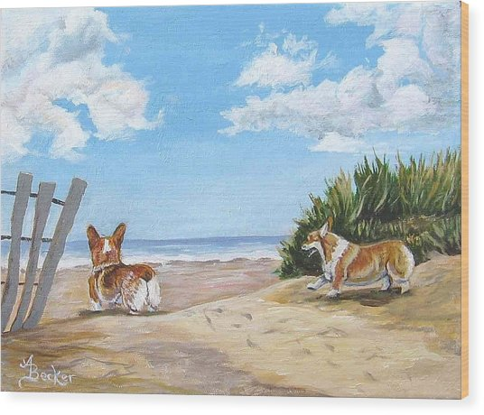Seaside Romp Wood Print by Ann Becker