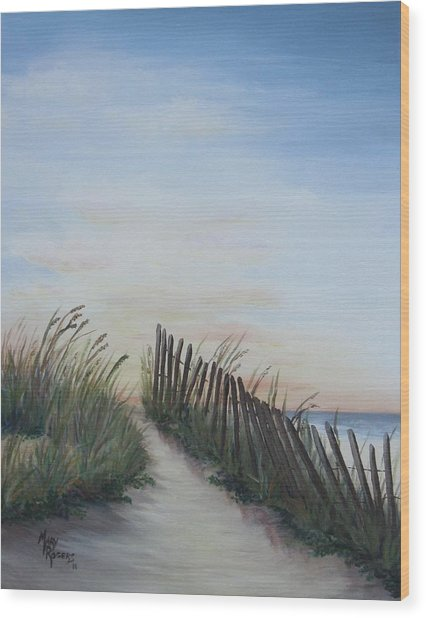 Seaside Sunrise Wood Print by Mary Rogers