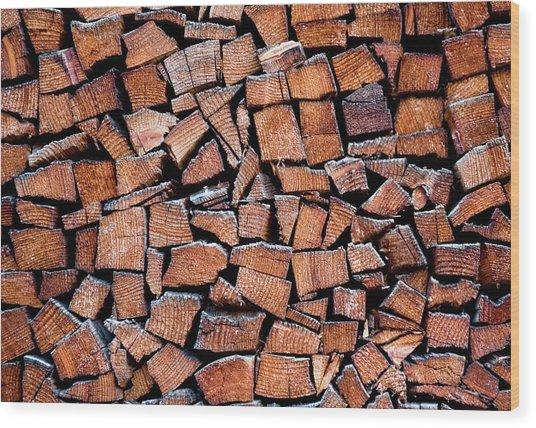 Seasoned Firewood Stacking Pattern Wood Print