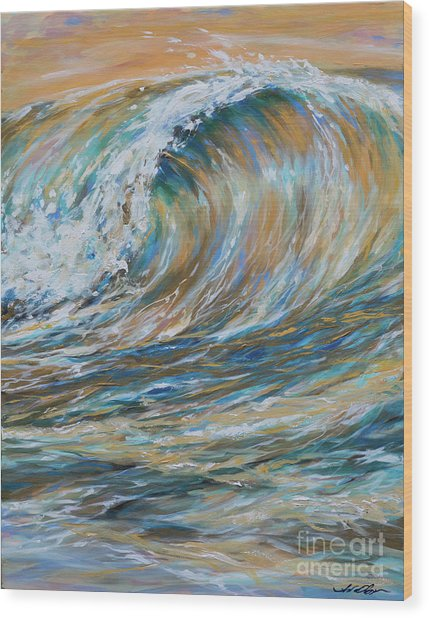 Seaspray Gold Wood Print