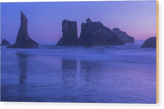 Seastack Sunset In Bandon Wood Print
