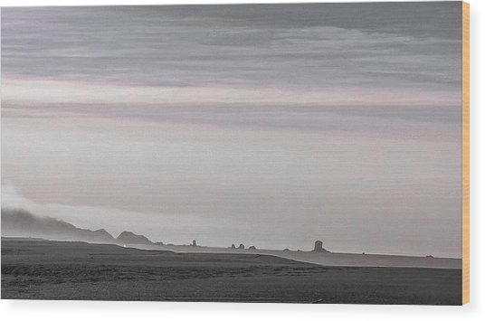 Seastacks In Fog Wood Print