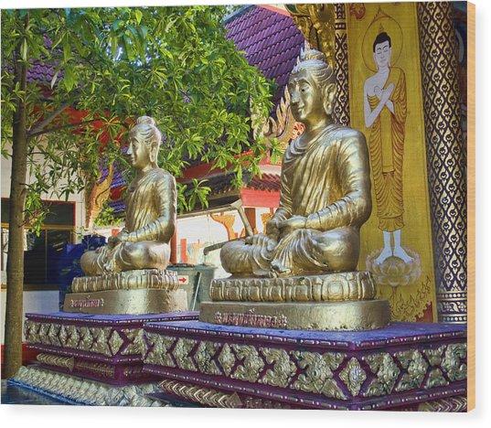 Seated Buddhas Wood Print