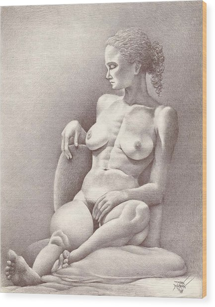 Seated Figure No. 6 Wood Print