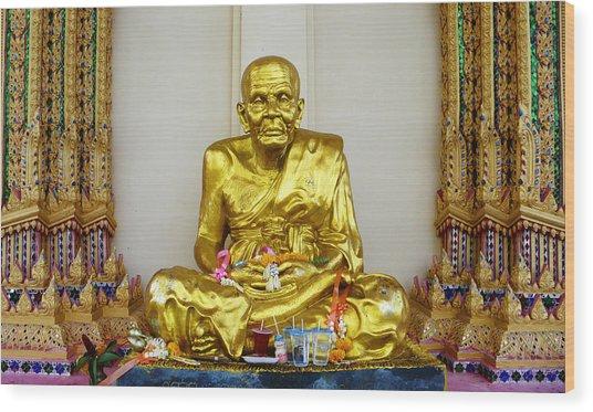 Seated Holy Man At Koh Samui Wood Print