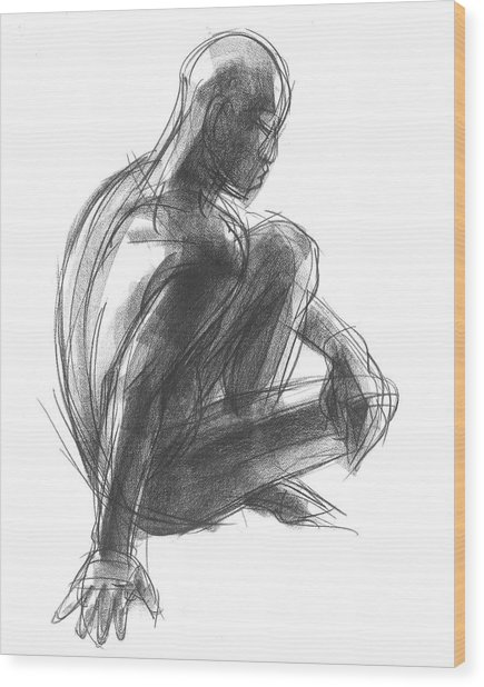 Seated Male Figure Study Wood Print