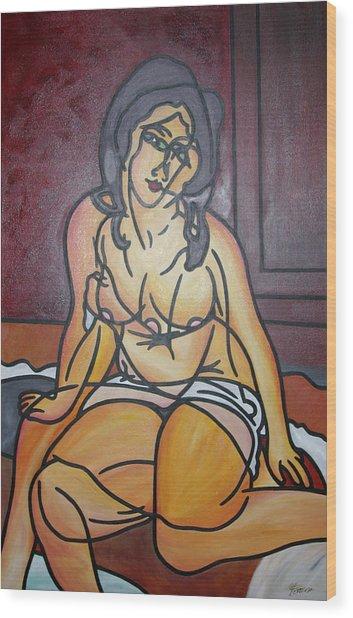 Seated Nu Wood Print by Guadalupe Herrera