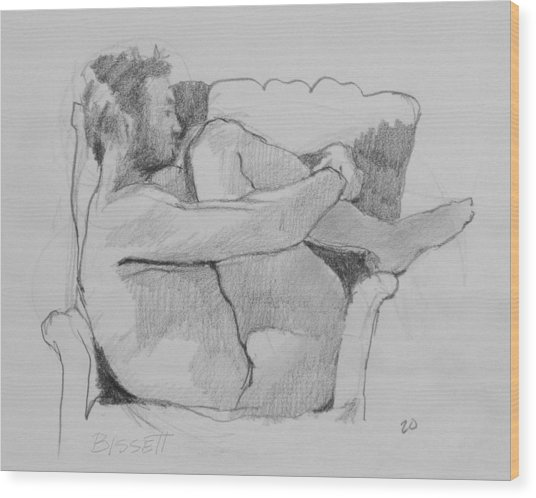 Seated Nude 1 Wood Print by Robert Bissett