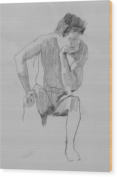 Seated Nude 3 Wood Print by Robert Bissett