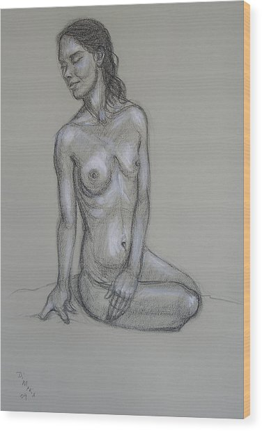 Seated Nude 6 Wood Print by Donelli  DiMaria