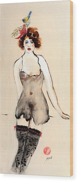 Seated Nude In Black Stockings With Flower And Bird Wood Print