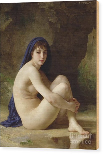 Seated Nude Wood Print