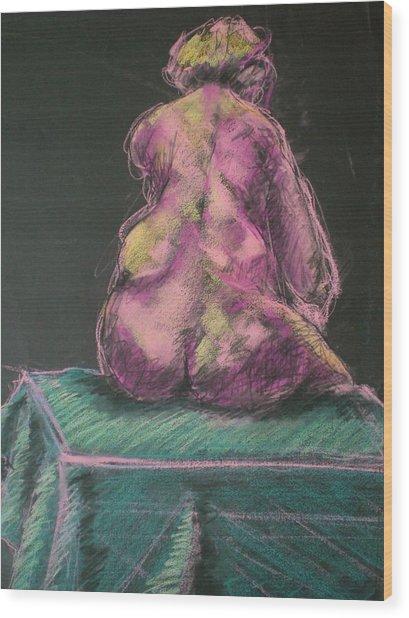 Seated Pink Nude Wood Print by Aleksandra Buha
