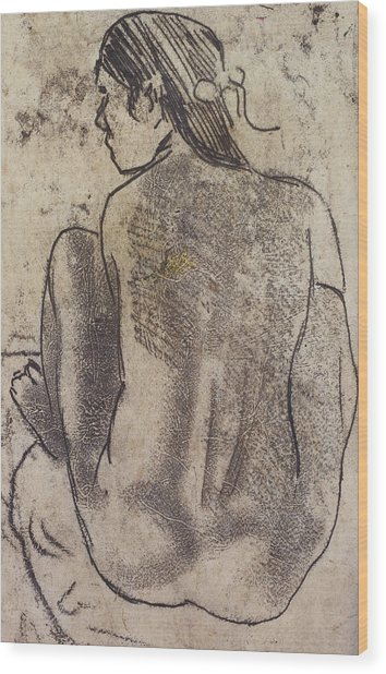 Seated Tahitian Nude From The Back Wood Print