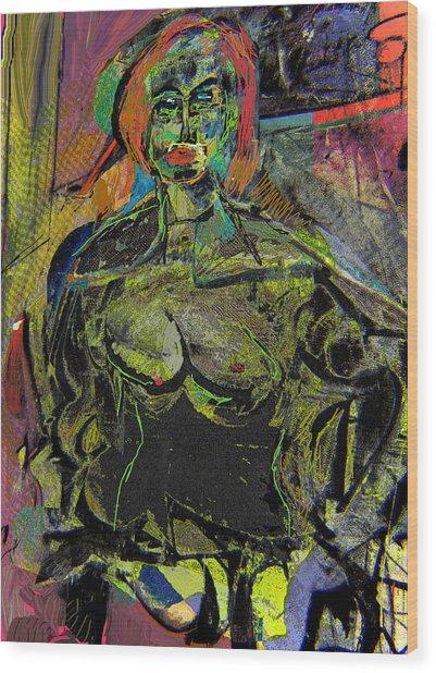 Seated Woman Wood Print by Noredin Morgan