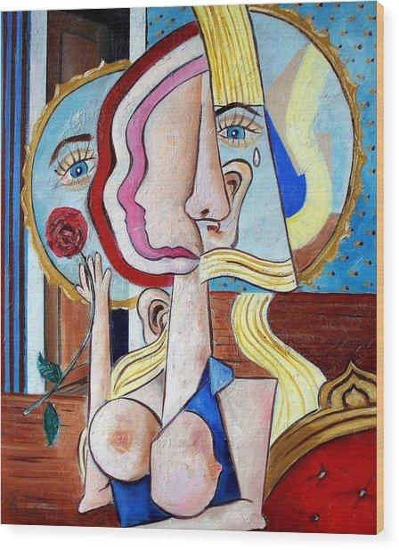 Seated Woman Wood Print
