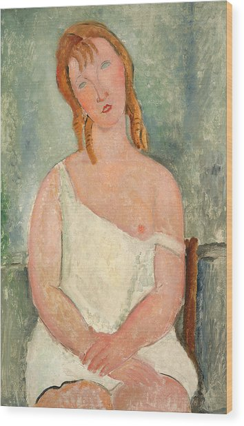 Seated Young Girl In A Shirt Wood Print