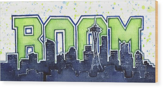 Seattle 12th Man Legion Of Boom Painting Wood Print