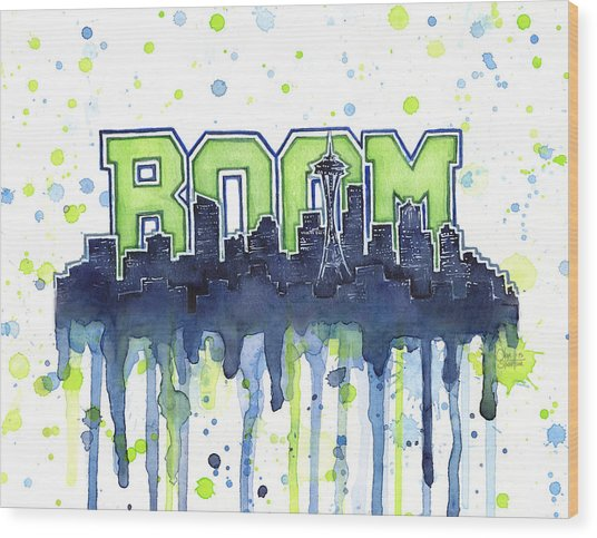 Seattle 12th Man Legion Of Boom Watercolor Wood Print