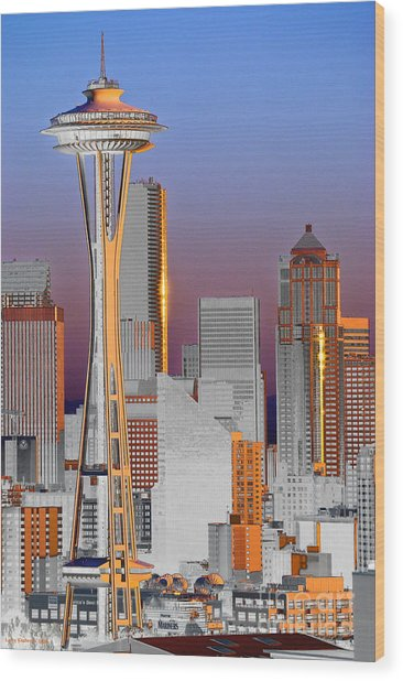 Seattle Architecture Wood Print