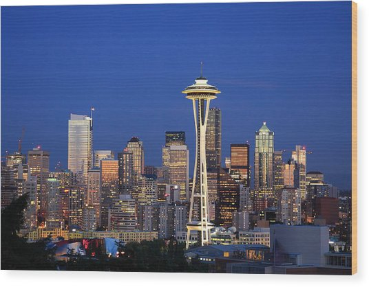 Seattle At Dusk Wood Print