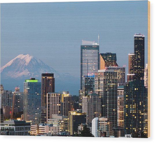Seattle At First Light II Wood Print