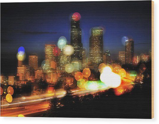 Seattle Color Spots C086 Wood Print by Yoshiki Nakamura